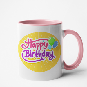 Mug rose personnalisé Happy birthday