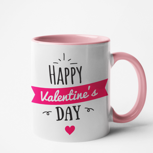 Mug rose personnalisé Happy valentine's day