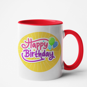 Mug rouge personnalisé Happy birthday