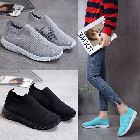 Women Flat Shoes Slip On Knitted - Casual Summer