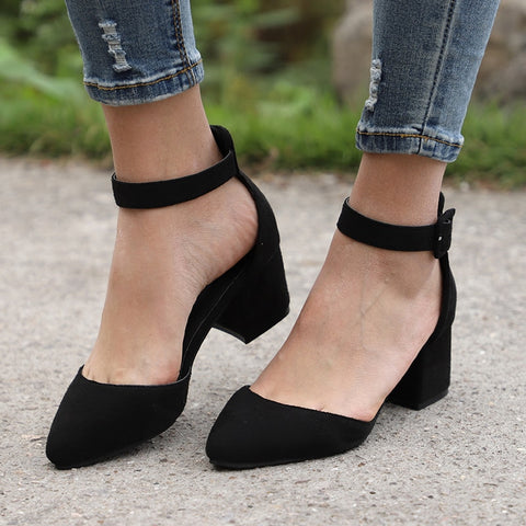 Women Sandals With 3cm Block Heels for Summer - Casual Ankle Strap
