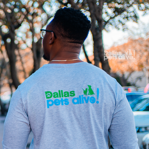 Back side of I HEART DOGS AND BEER grey long sleeve t-shirt featuring Dallas Pets Alive! logo