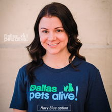 Load image into Gallery viewer, Navy Blue Dallas Pets Alive! Logo t-shirt