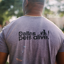 Load image into Gallery viewer, close up of back side of grey short-sleeve t-shirt with Dallas Pets Alive! logo