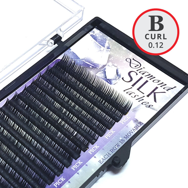 B Curl 0.12mm Diamond Silk Lash Tray