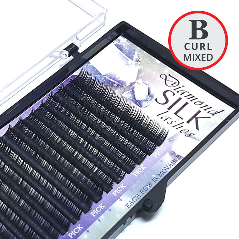 B Curl MIXED Length Diamond Silk Lash Tray - Lash and Brow Supplies