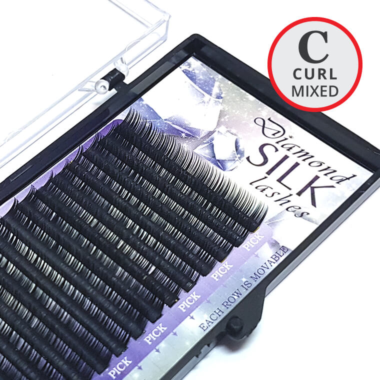 C Curl MIXED Length Diamond Silk Lash Tray