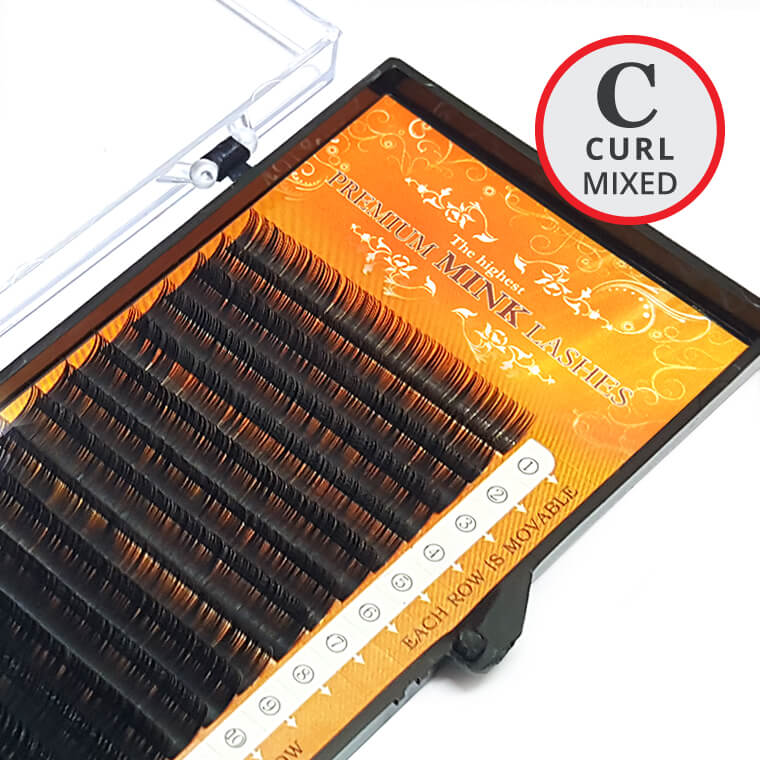 C Curl MIXED Size Premium Mink Lash Tray