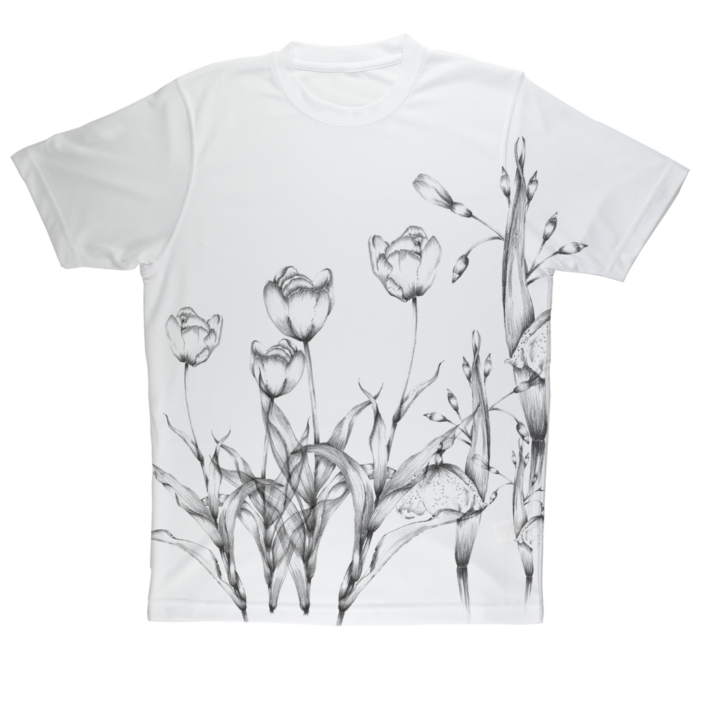 tulip illustrations vintage all over electric colors tee