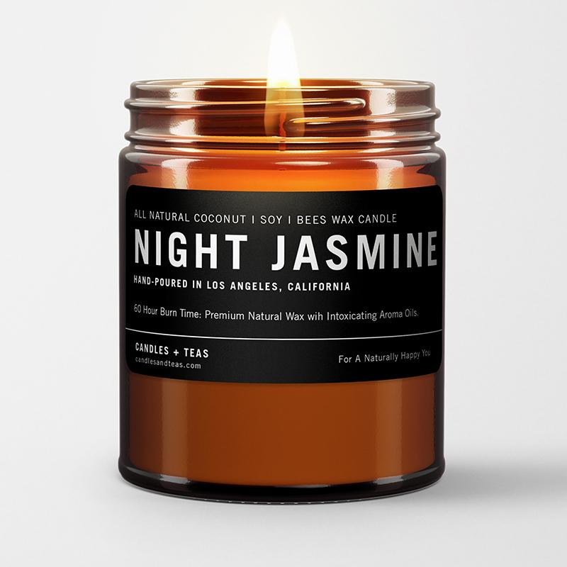 naturally calming aroma candle: night jasmine in coconut soy wax
