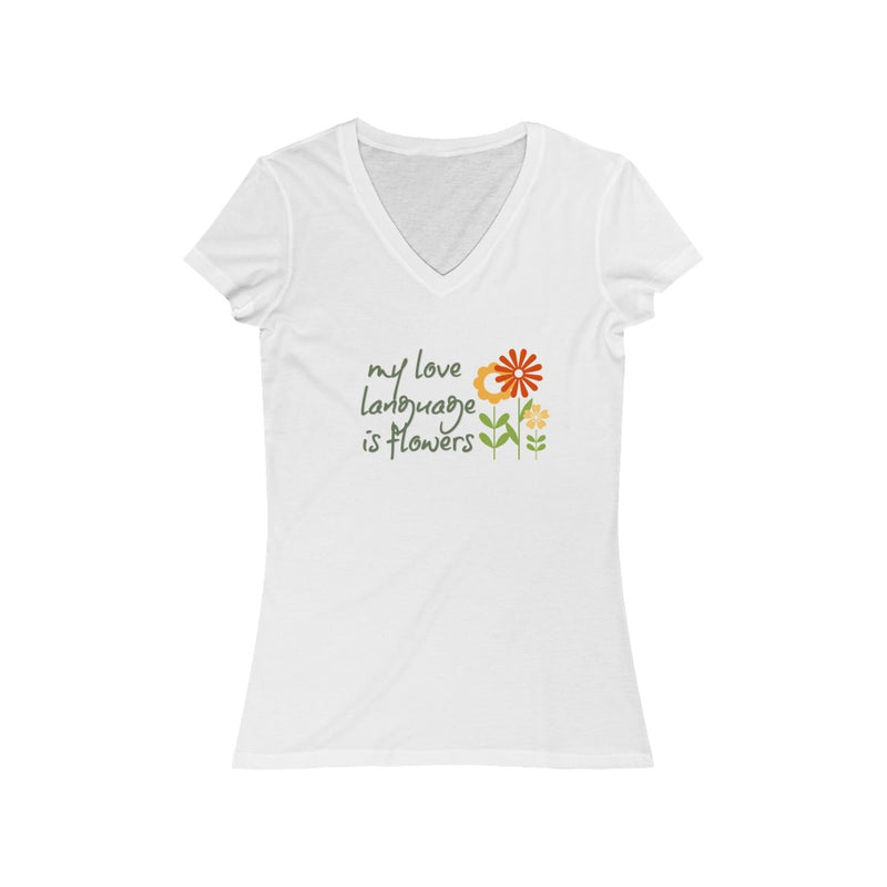 flowers are my love language graphic v-neck tee