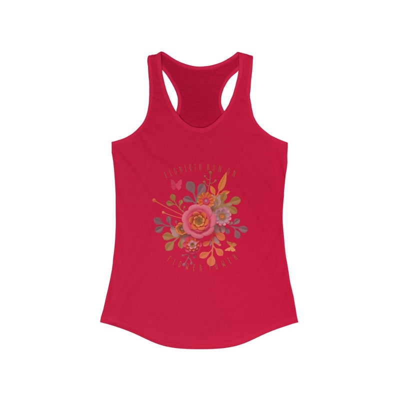 florists run on flower power graphic racerback tee
