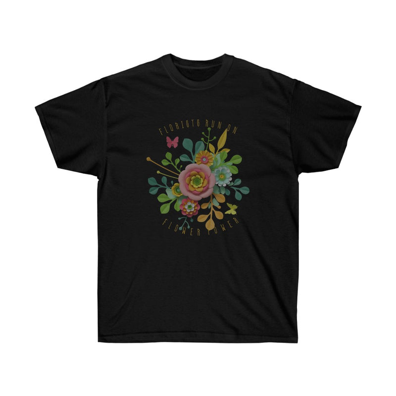 florist's run on flower power unisex cotton tee