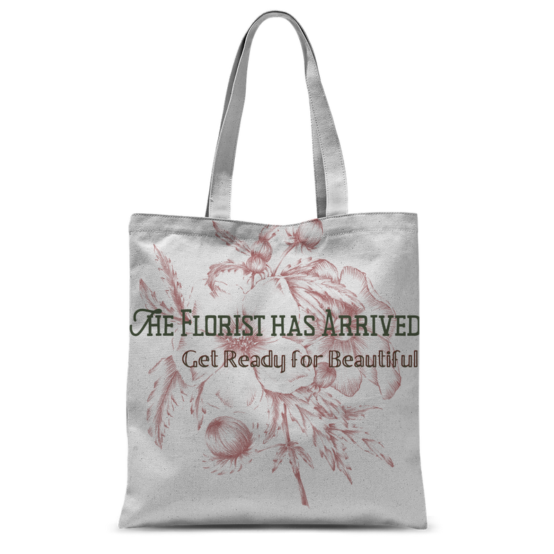 the florist has arrived, get ready for beautiful graphic tote bag