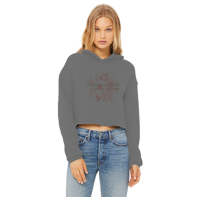 the florist has arrived, get ready for beautiful cropped raw edge hoodie
