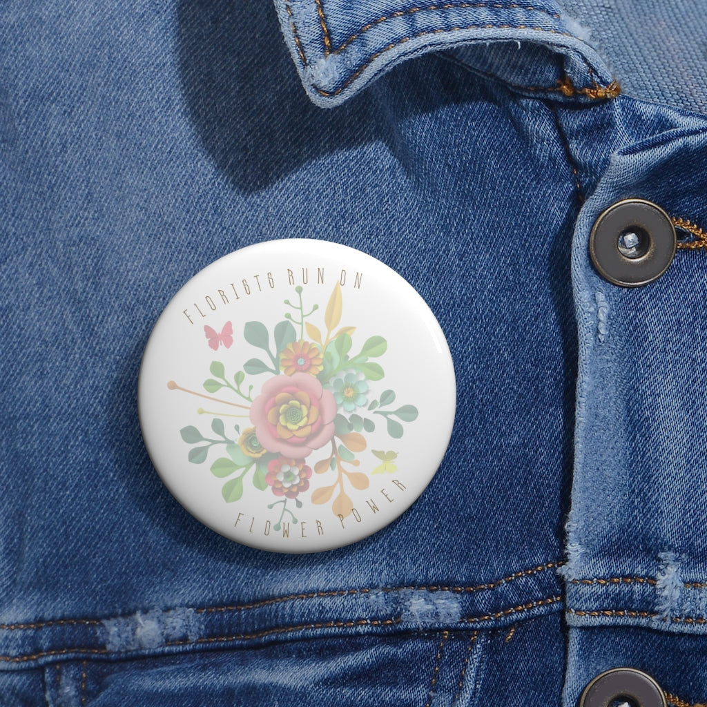 florists run on flower power pin