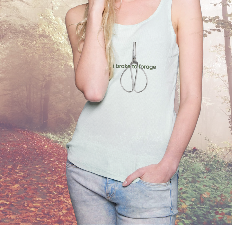 i brake to forage racer back graphic tank