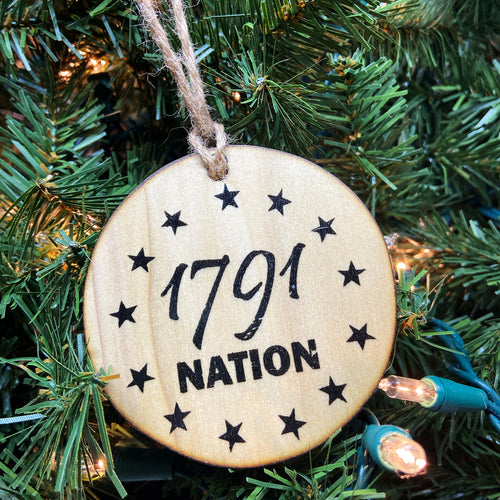 1791 Nation Logo Wooden Ornament, USA Made