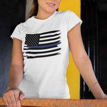 Load image into Gallery viewer, Thin Blue Line Flag Women's Tee