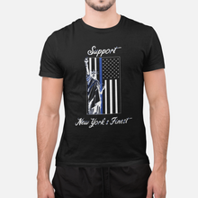 "Load image into Gallery viewer, ""Support New York's Finest"" Blue Line Mens T-Shirt"