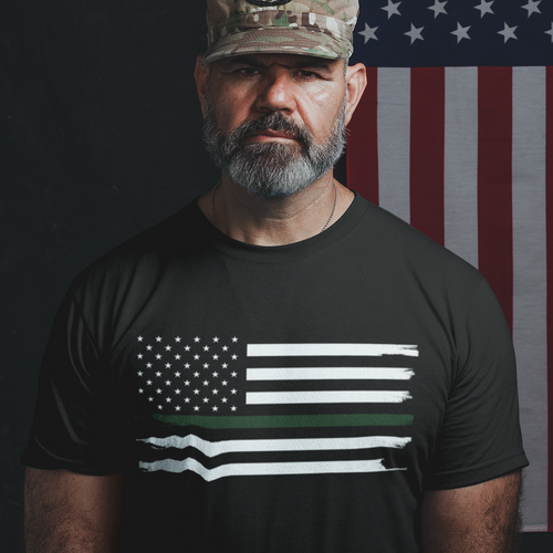 Thin Green Line Flag Mens T-Shirt