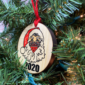 2020 Masked Santa Wooden Ornament, USA Made