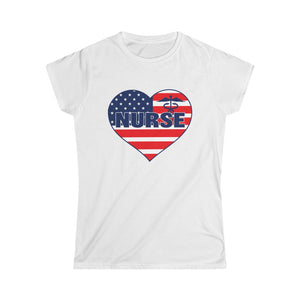 """Nurse"" American Flag Heart Women's Tee"