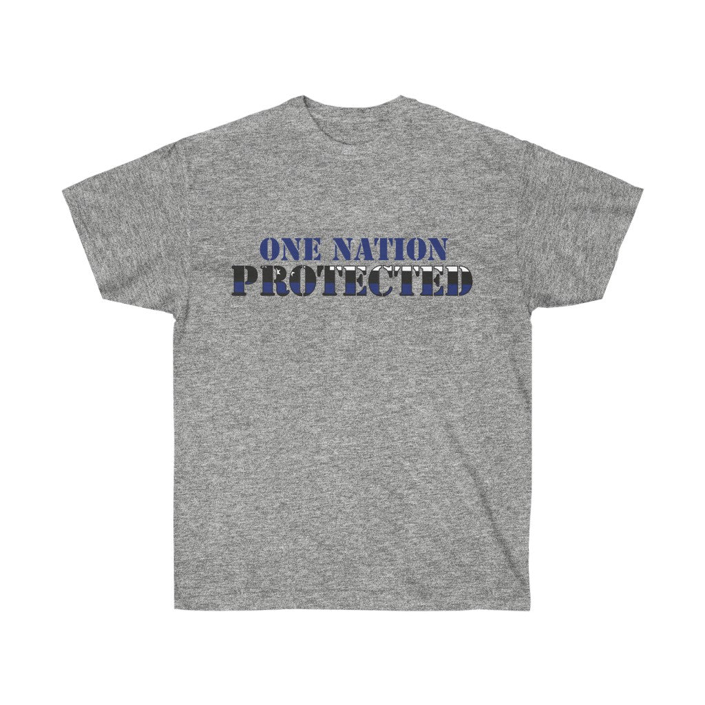 One Nation Protected- Blue Line Mens T-Shirt
