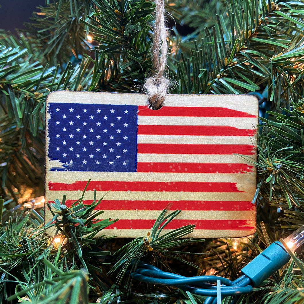 American Flag Wooden Ornament, USA Made