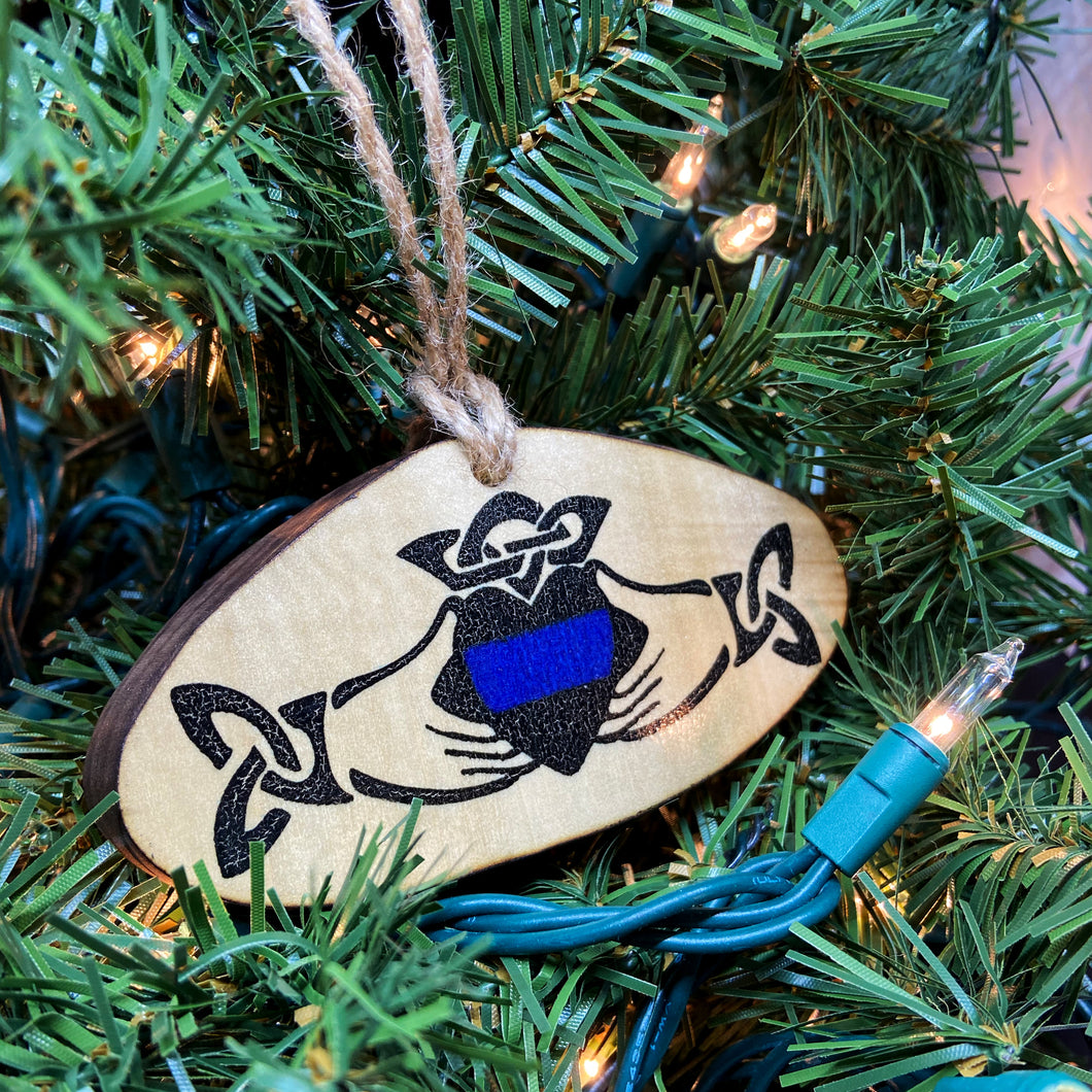 Thin Blue Line Claddagh Wooden Ornament, USA Made