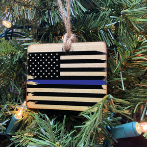Thin Blue Line American Flag Wooden Ornament, USA Made