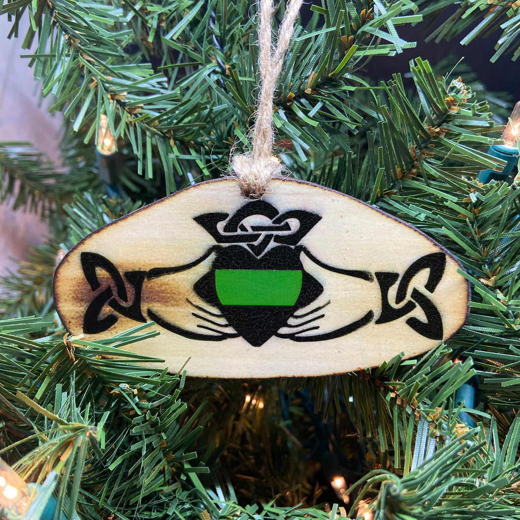 Thin Green Line Claddagh Wooden Ornament, USA Made