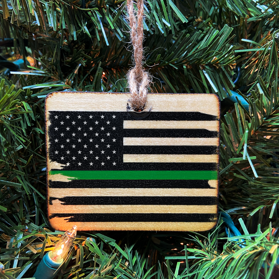 Thin Green Line American Flag Wooden Ornament, USA Made