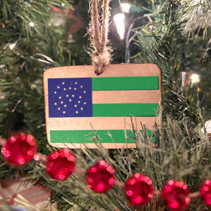 NYPD Flag Wooden Ornament, USA Made