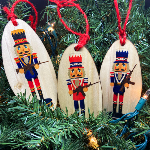 Militia Men Nutcracker Wooden Ornament Set, USA Made
