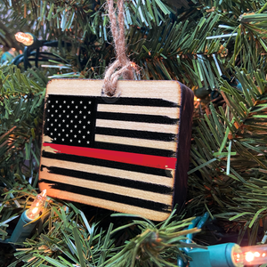 Thin Red Line American Flag Wooden Ornament, USA Made