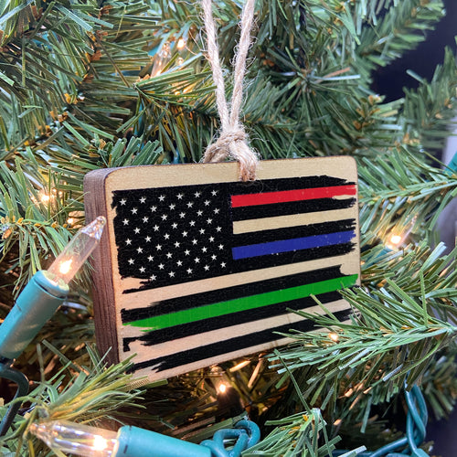 Thin Line American Flag Wooden Ornament, USA Made
