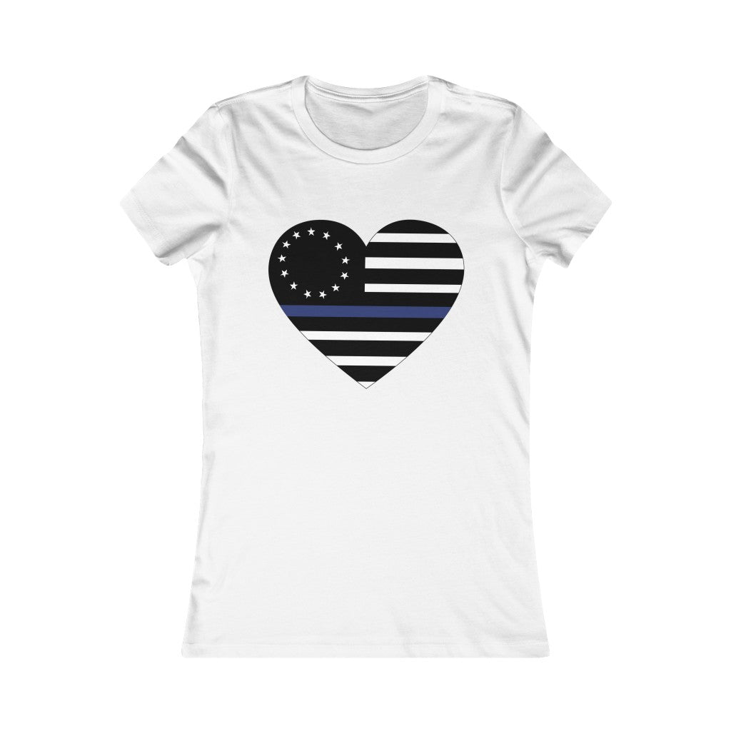 Blue Line Heart Women's Tee