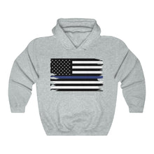 Load image into Gallery viewer, Thin Blue Line Flag Hooded Sweatshirt