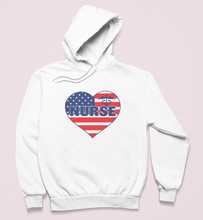 "Load image into Gallery viewer, ""Nurse"" American Flag Heart Sweatshirt"