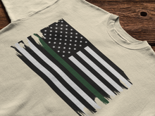 Load image into Gallery viewer, Thin Green Line Flag Mens T-Shirt