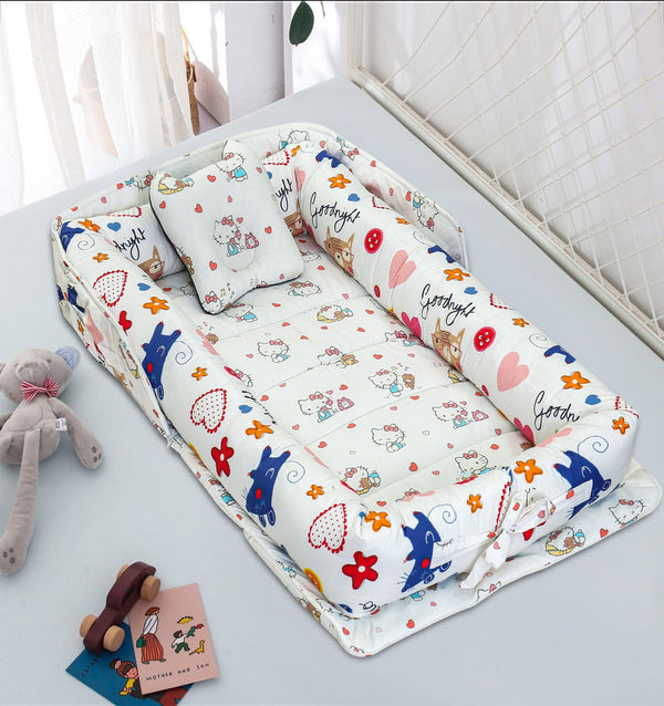 Portable Newborn Bed Baby Cot Nest With Comforter - Hello Kitty
