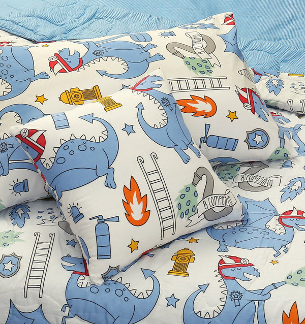 4 PCs Cartoon Character Comforter Set - Baby Dino