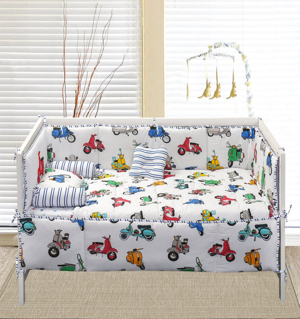7 PCs Applique Baby Cot Set - Vespa & Mini