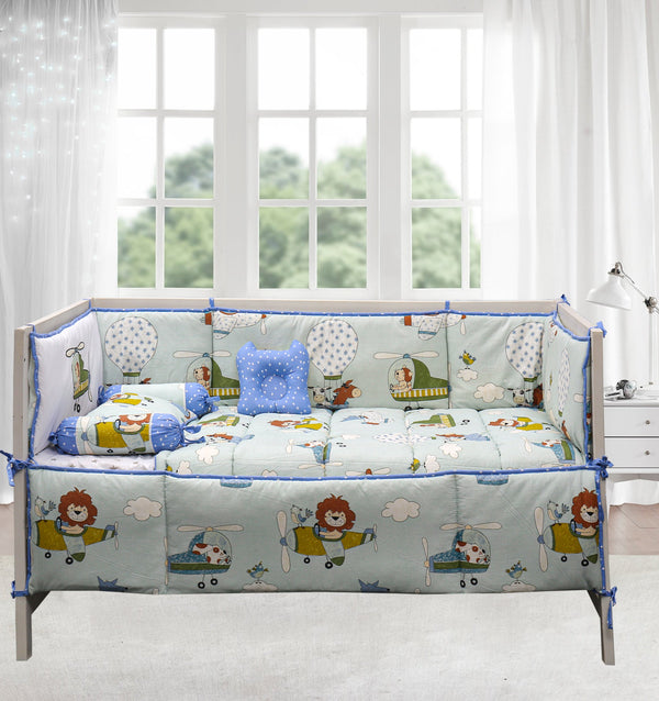 7 PCs Applique Baby Cot Set - Loin & Planes