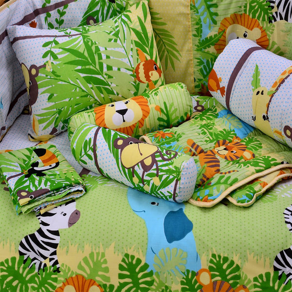 7 PCs Applique Baby Cot Set - Jungle