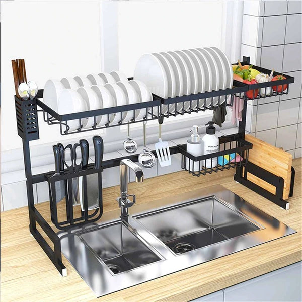 Stainless Steel Kitchen Shelf Organizer - Black