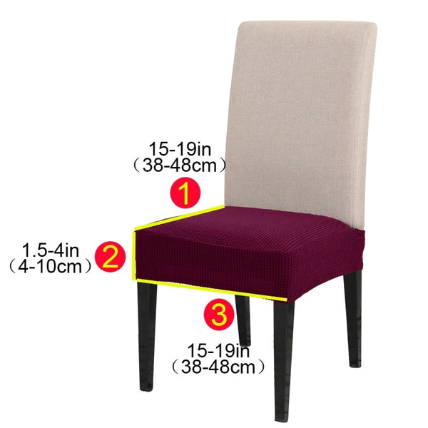 Dining Chair Velvet Seat Covers - Grey