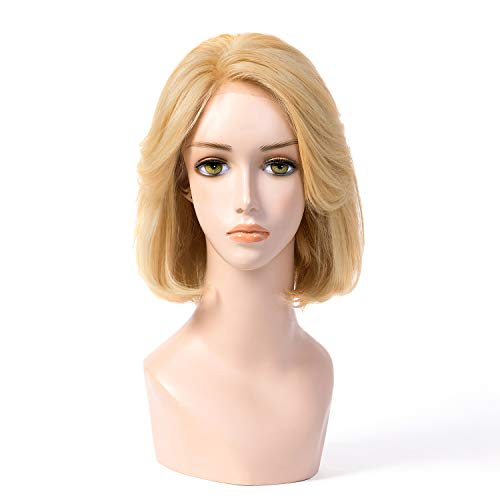 100% Europe Hair BOB Wig MoNo 5X5 12 Inch Kosher Wig Sheitels Blonde 17# In Stock