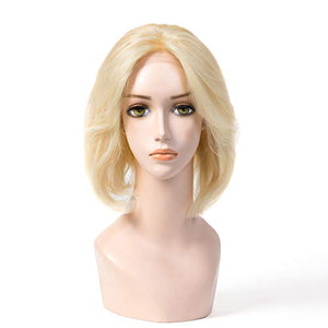 100% Europe Hair BOB Wig Kosher Wig MoNo 5X5 12 Inch Sheitels Blonde 20# In Stock